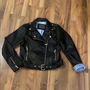 Motorcycle Biker style faux leather Jacket M